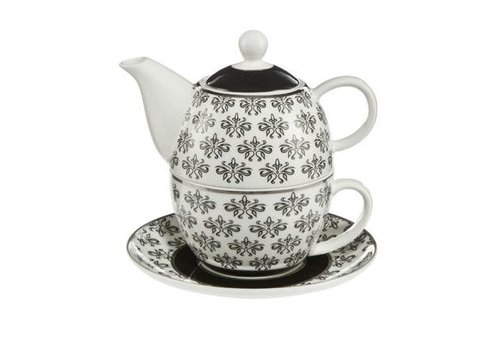Black and White Floral  - Tea for One