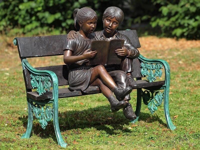 Bronze Statue: 2 Children on couch-1