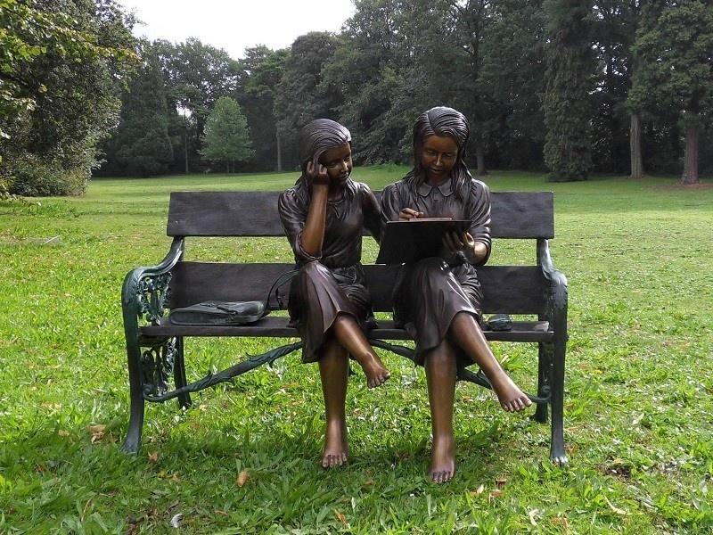 Bronze Statue: 2 Girlon couch-2