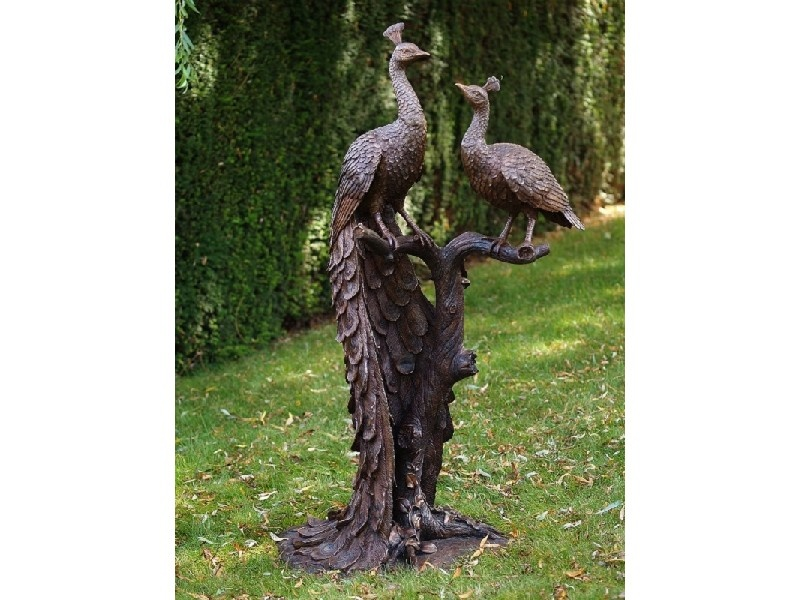 Bronze Statue: 2 Peacockon tree trunk-1