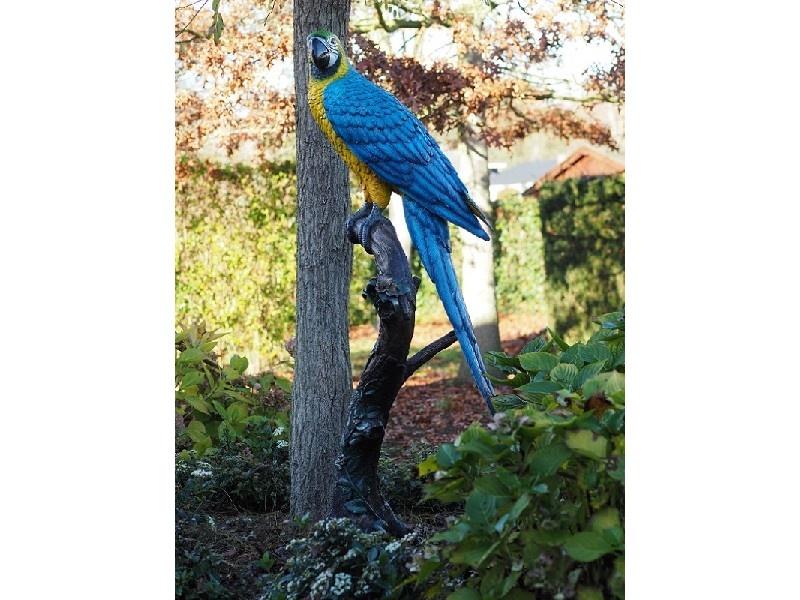 Bronze Statue: Coloured parrot blue-1