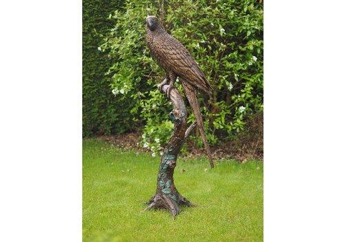 BronzArtes Papagei auf Baumstamm