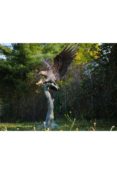 Big eagle on tree trunk