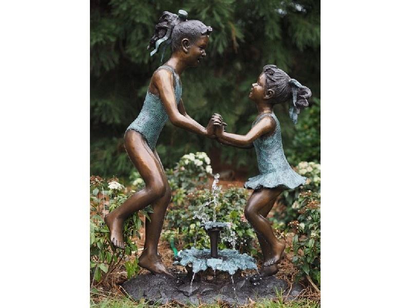 Bronze Statue: 2 Children in bathing suit-1