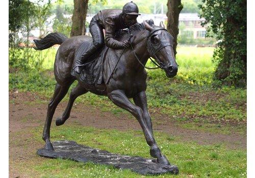 BronzArtes Großer Jockey zu Pferd