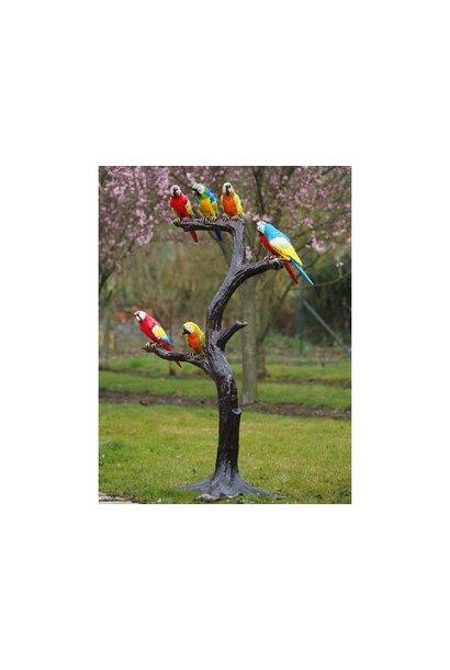 Boom met papegaaien
