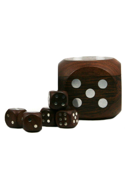 Dice Box With 5 Dices, Silver
