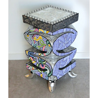 Colourful, funny, cheerful, in all colours of the rainbow:  114 x 33 x 79 cm , FiberGlass with a layer of marbleine