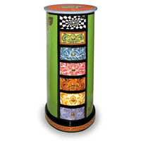 Colourful, funny, cheerful, in all colours of the rainbow:   Drag cabinet, round