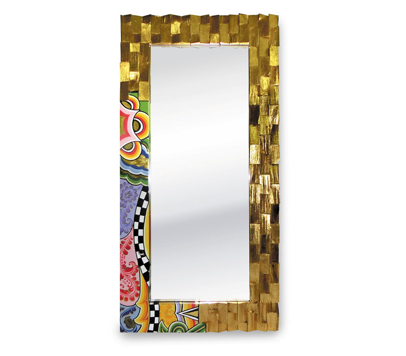 Colourful, funny, cheerful, in all colours of the rainbow:  Mirror, gold-plated L