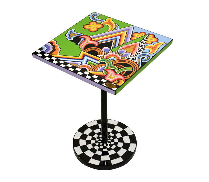 Colourful, funny, cheerful, in all colours of the rainbow:  Side table quadr.S, graphic