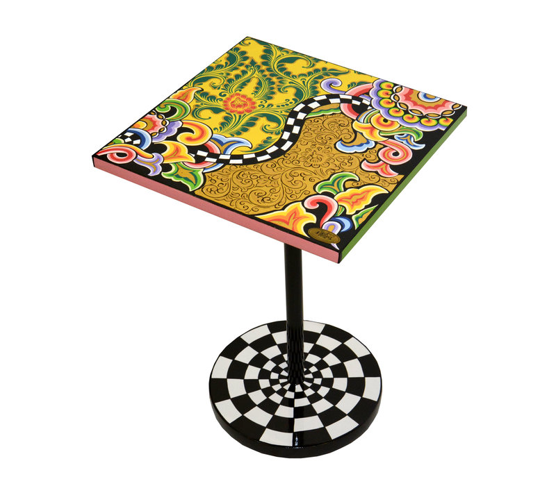 Colourful, funny, cheerful, in all colours of the rainbow:  Side table quadr.S, floral gold