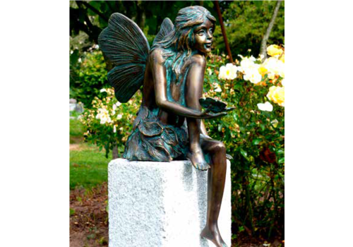 BronzArtes Fairy sitting with butterfly