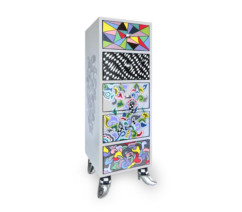 "Colourful, funny, cheerful, in all colours of the rainbow: Drawer cabinet ""Seattle"", Silver Line"