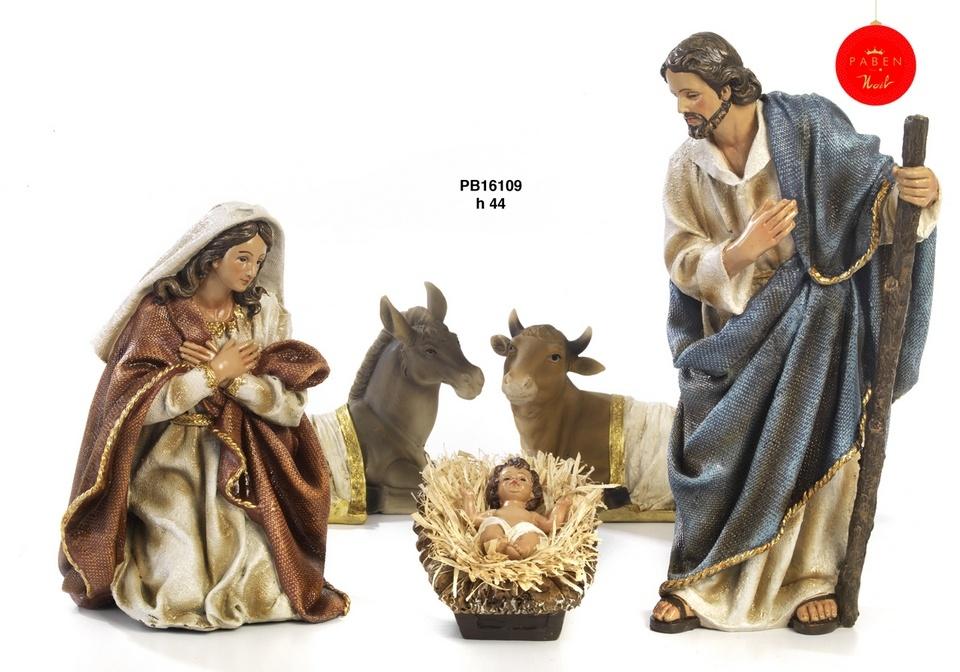 Kerststal set, Maria, Jozef en kind, os en ezel plus optioneel extra groep-1