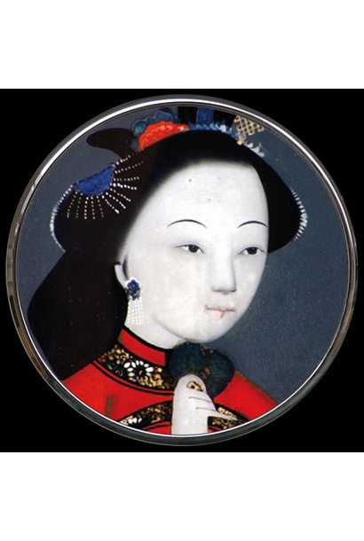Pocket mirror Chinese woman
