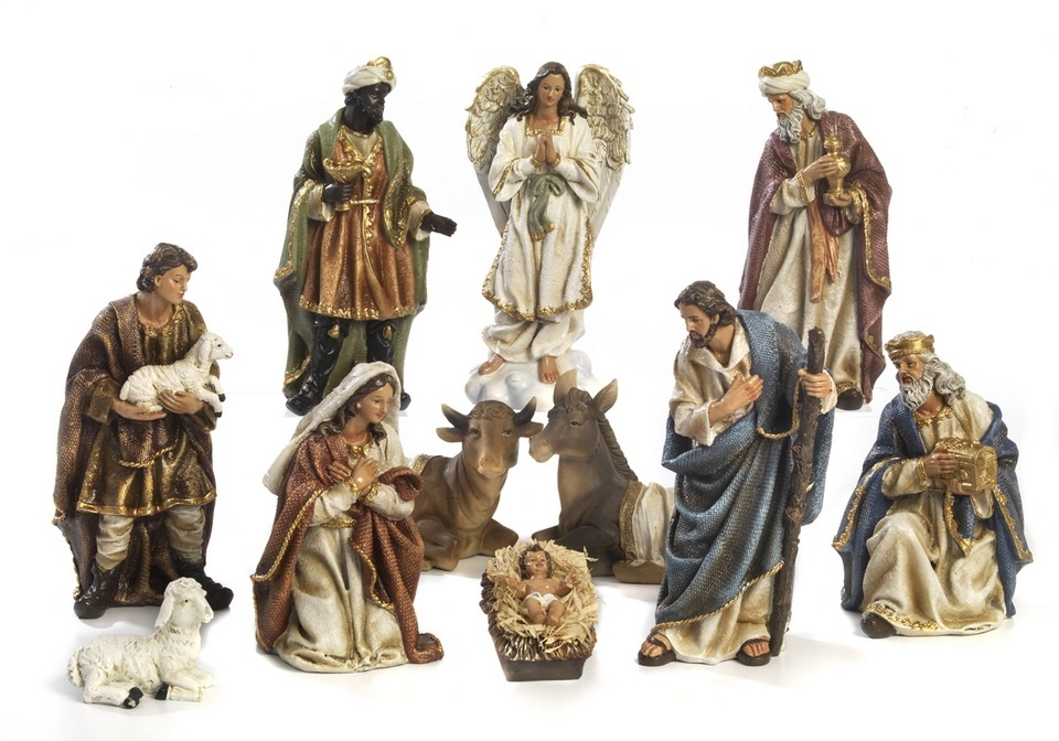 Kerststal set, Maria, Jozef en kind, os en ezel plus optioneel extra groep-3