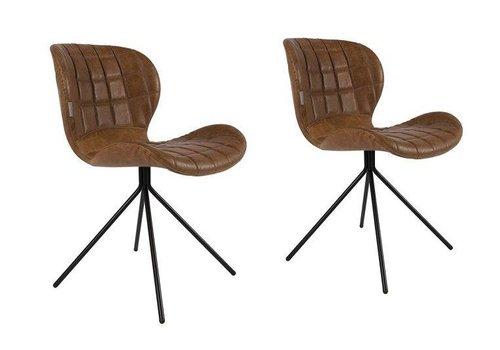 Zuiver OMG leatherlook stoel (set van 2) - bruin/cognac