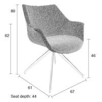 OMG Doulton stoel (set van 2) - grijs/grijs