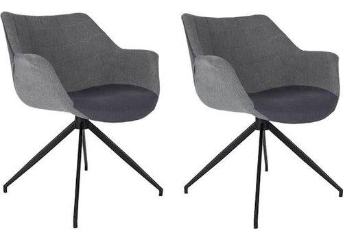 Zuiver Zuiver Doulton stoel (set van 2) - grijs/grijs