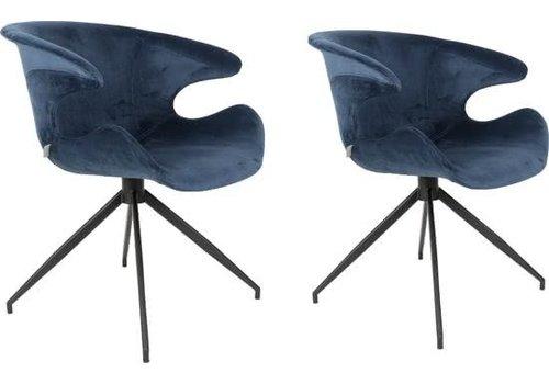 Zuiver Zuiver Mia stoel (set van 2) - blauw