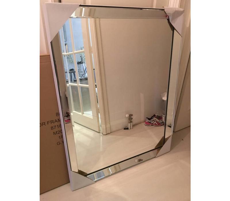 Spiegel met spiegelrand - zilver 100x130