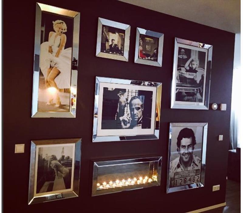 Fotolijst met spiegelrand - zilver 40x40