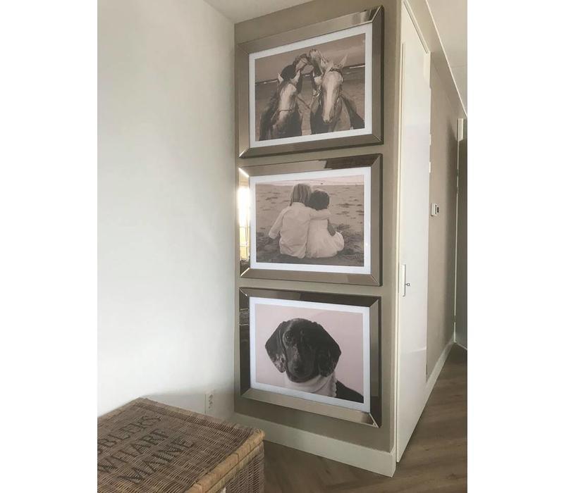 Fotolijst met spiegelrand - brons 70x90