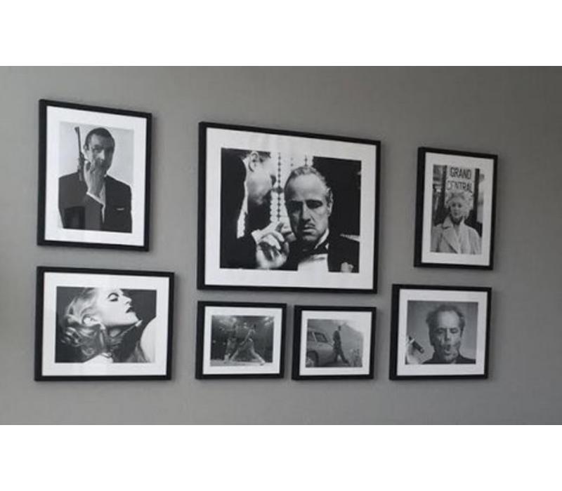 Fotolijst zwart frame - Marilyn Monroe over balkon