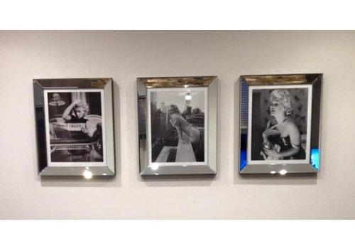 Set van 3 - spiegellijsten fotolijsten 50x60 cm - zilver - Eric Kuster stijl
