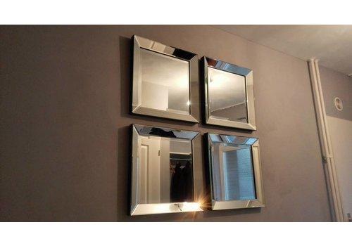 Set van 4 - Spiegels met spiegelrand 50x50