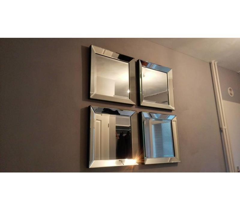 Set van 4 - Spiegels met spiegelrand 50x50 cm