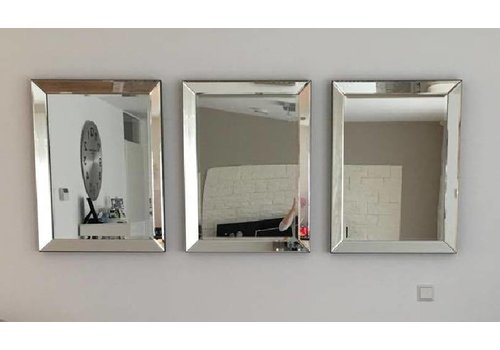 Voordeelset van 3 Spiegels met spiegelrand 60x80 cm - zilver- Eric Kuster stijl