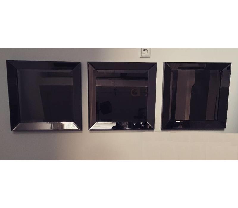 Set van 3 -  Spiegels met spiegelrand 50x50 cm - brons