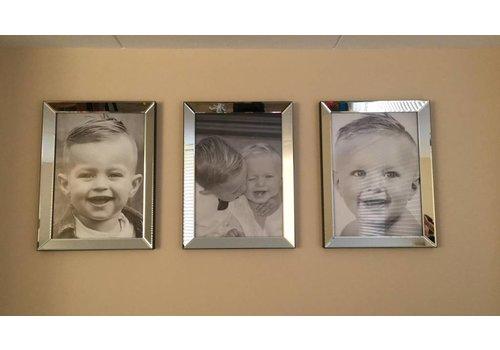 Set van 3 - spiegellijsten fotolijsten 60x80 cm - zilver