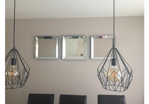 Set van 3 - spiegellijsten fotolijsten 50x50 cm - zilver