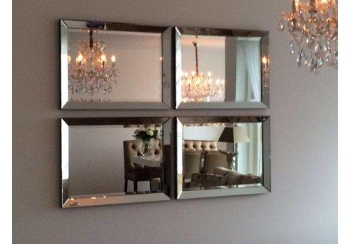 Set van 4 - Spiegels met spiegelrand 60x80