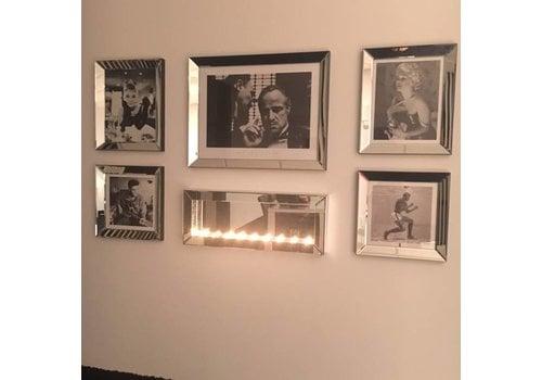 Set van 5 - sfeerhaard met spiegellijsten fotolijsten - zilver -  Eric Kuster stijl