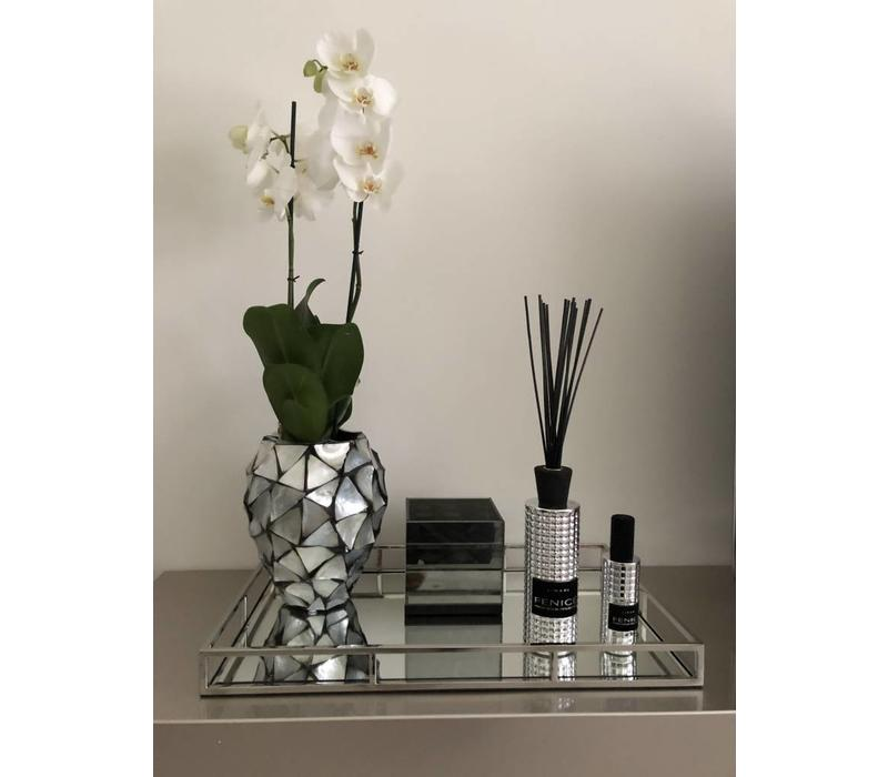 Set spiegeldienblad met waxinelichthouder en set van Linari - zilver