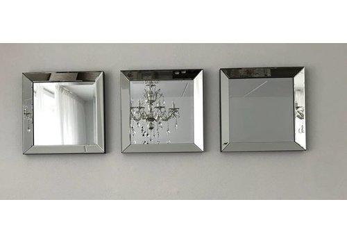 Set van 3 - spiegels 50x50 cm - zilver