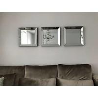 Voordeelset spiegellijsten - 3 spiegels zilver 50 x 50 cm