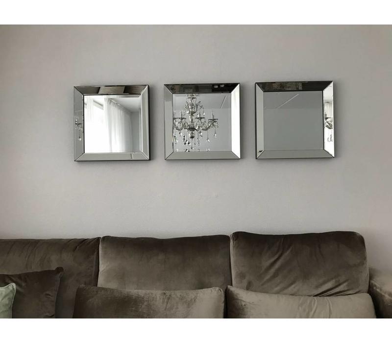 Set van 3 - spiegels 50x50 cm zilver