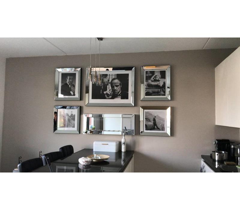 Set van 5 - sfeerhaard met spiegellijsten fotolijsten en posters zilver - Eric Kuster stijl