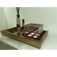 SET Spiegeldienblad brons-rosé met waxinelichthouder en geurstokjes