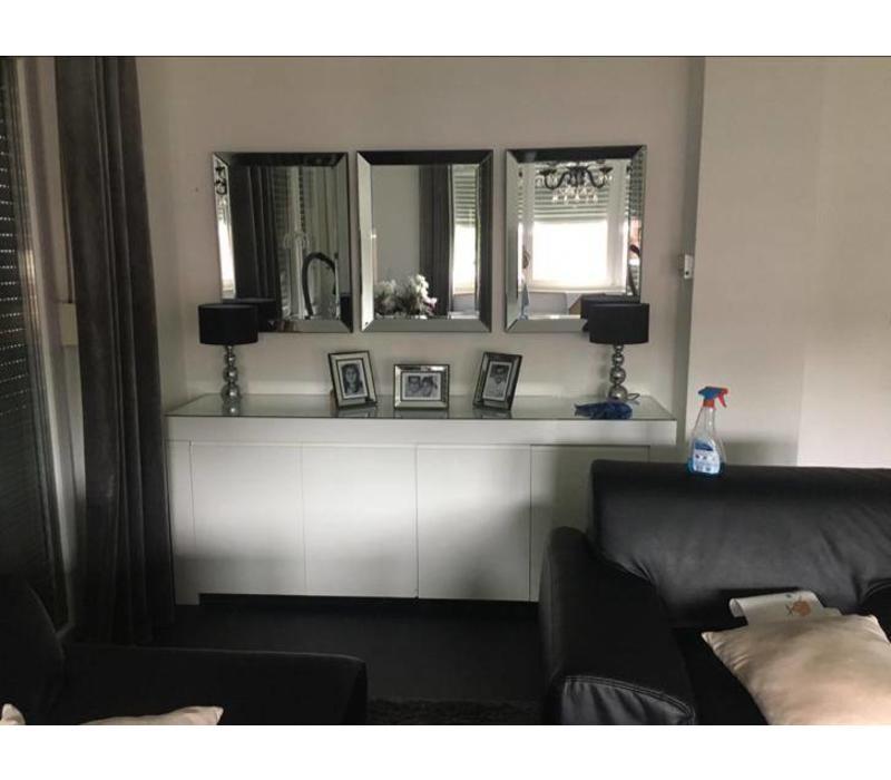 Voordeelset van 3 Spiegels met spiegelrand 60x80 cm - zilver