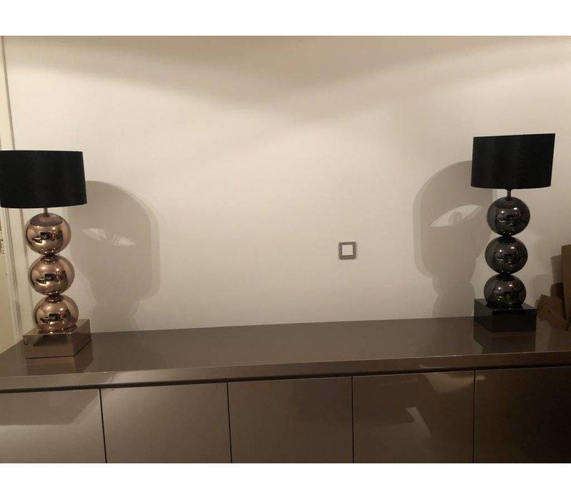 Lamp met 3 bollen - vierkante voet - rosé