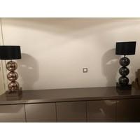 Lamp met 3 bollen - vierkante voet - antraciet