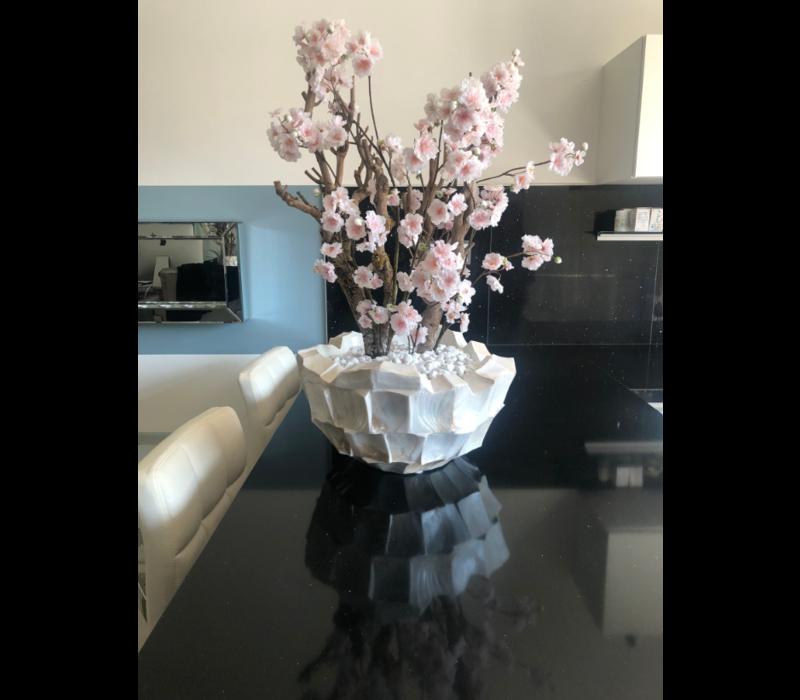 Schelpenvaas bowl wit 40 cm met lichtroze bloesems