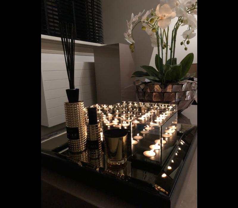 SET Spiegeldienblad brons met waxinelichthouders en interieurparfum van Linari