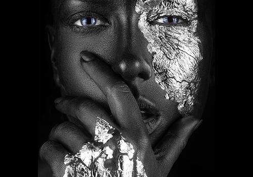 Aluminium Art - Dark Skin Girl with Silver Foil Make Up